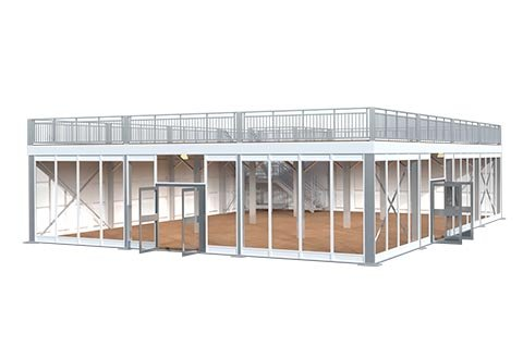 Two Story Tent Deck Structure 3d