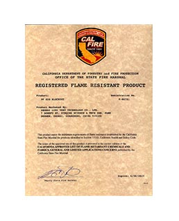 Certificate of Registered Flame Resistant Product