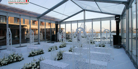 glass wall wedding tent