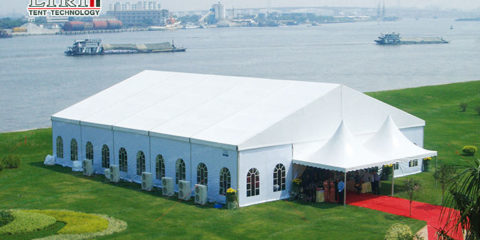 entrance in outdoor event tent