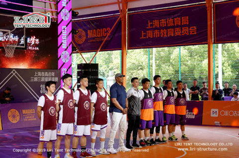 open air covered basketball court design
