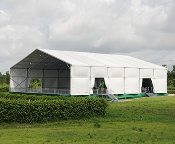 White Event Tent for Groundbreaking Ceremony