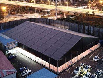 Black Indoor Basketball Court