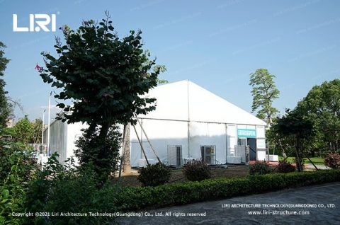 tent for mass COVID 19 vaccination site set up