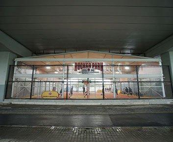 Indoor Basketball Court Building Under Bridge