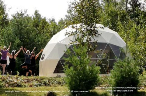 Outdoor hot yoga domes